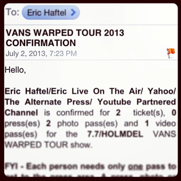 Vans Warped Confirmation